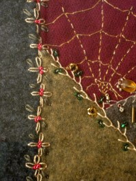 Original crazy quilt crafted by Angela McInnis & used in A Stitch in Crime's cover.
