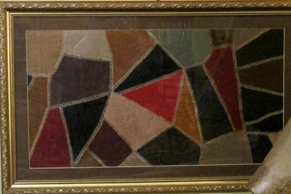 Amish Crazy Quilt piece all framed!
