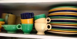 Fiesta dishes on shelf