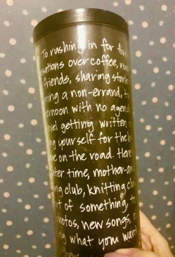 A Starbuck's insulated bottle giftt.